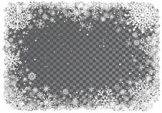 Christmas background with frame of snowflakes Stock Image