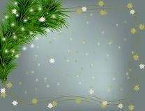 Christmas background with frame. And some snoeflakes Stock Photography