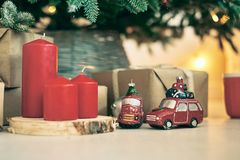 Christmas background frames candles Christmas tree cars text. Gift boxes royalty free stock photography