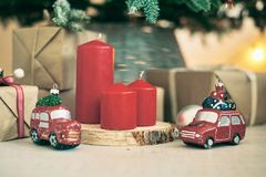 Christmas background frames candles Christmas tree cars text. Red Christmas candles royalty free stock images