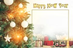 Christmas background frames candles Christmas tree cars text. Little toy cars stock photo
