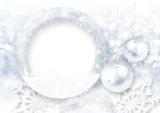 Christmas background with frost photo-frame Stock Image