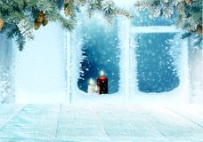 Christmas background with frosted window with. Merry Christmas and happy new year greeting  Christmas decoration .Winter lanbackground with frosted window Royalty Free Stock Image