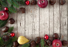 Christmas Background With Fruits And Fir Royalty Free Stock Photo