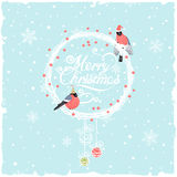 Christmas Background with Funny Bullfinches. Christmas background with wreath and funny bullfinches Stock Illustration