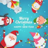 Christmas background with funny characters. Design template with place for your text. Christmas banner card template with snowman and elf illustration Stock Photos