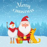 Christmas background with funny characters. Santa, snowman and yellow dog. Christmas cartoon winter characters. Vector illustration Royalty Free Stock Images