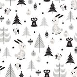 Christmas background with funny hare. Seamless pattern with funny hare, bullfinch and trees in Scandinavian style. Christmas background in black and white colors Stock Photo