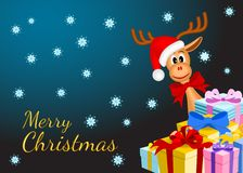 Christmas background with funny reindeer and gifts Royalty Free Stock Photo