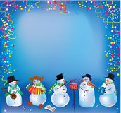 Christmas background with funny snowmen. Playing music Royalty Free Stock Photography