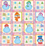 Christmas background, funny snowmen, vector Stock Images