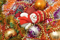 Christmas background - Funny white snowman Royalty Free Stock Images