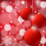 Christmas background with fur-tree spheres Stock Photos
