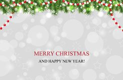 Christmas background with garland fir branches and beads, New Year decoration. Vector. Illustration royalty free illustration