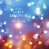 Christmas background with garland Royalty Free Stock Photo