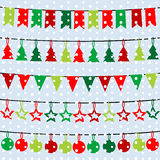 Christmas background with garlands and buntings over a snowflake Stock Photography