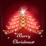 Christmas background with garlands x-mas tree Stock Photo