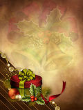 Christmas background with a gift Royalty Free Stock Photography