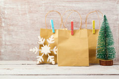 Christmas background with gift bags. Christmas sale and shopping concept Royalty Free Stock Photos