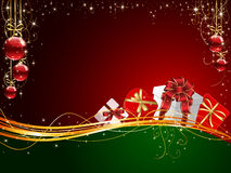 Christmas background with Gift box. Es and balls, illustration Royalty Free Stock Images