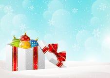 Christmas background with gift box. And Christmas balls Royalty Free Stock Image