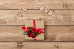 Christmas Background. Gift Box. Best Wishes Words Royalty Free Stock Photo