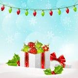 Christmas background with gift box. Christmas blue background with gift box Royalty Free Stock Images