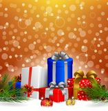 Christmas background with gift box and Christmas ball. Illustration of Christmas background with gift box and Christmas ball Stock Photography