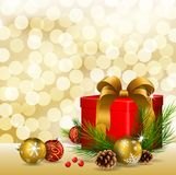 Christmas background with gift box and Christmas ball. Illustration of Christmas background with gift box and Christmas ball Royalty Free Stock Images