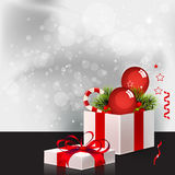 Christmas Background with Gift Box Stock Image
