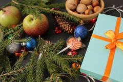 Christmas background with gift box and decorations stock photo