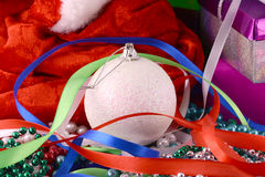 Christmas background with gift box, diamonds, new year balls Stock Images