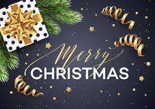 Christmas background with gift box with gold bow, streamers, confetti  Stock Image