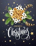 Christmas background with gift box with gold bow, streamers, confetti  Royalty Free Stock Images