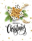 Christmas background with gift box with gold bow, streamers, confetti. Christmas background with gift box with gold bow, streamers, confetti, a sprig of Royalty Free Stock Images