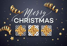 Christmas background with gift box with gold bow, streamers, confetti. Christmas background with gift box with gold bow, streamers, confetti, a sprig of Stock Image