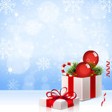 Christmas Background with Gift Box - Illustration Stock Photos