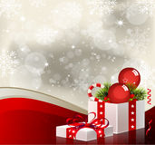 Christmas Background with Gift Box - Illustration Stock Photo