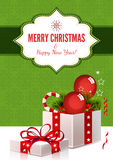 Christmas Background with Gift Box - Illustration Royalty Free Stock Images