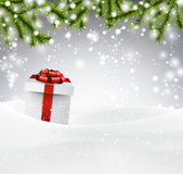 Christmas background with gift box. Royalty Free Stock Image