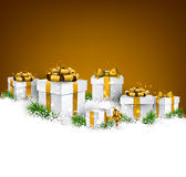 Christmas background with gift boxes. Abstract golden christmas background with fir branches and realistic gift boxes. Vector illustration Royalty Free Stock Image