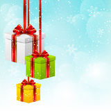 Christmas background with gift boxes Royalty Free Stock Photos
