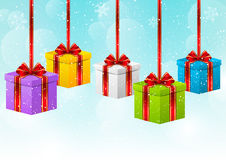 Christmas background with gift boxes Stock Photo