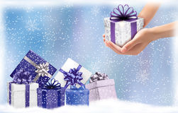 Christmas background with gift boxes. Concept of g Stock Photography