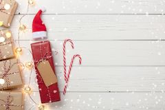 Christmas background with gift boxes and garland light. Copy space Stock Photo