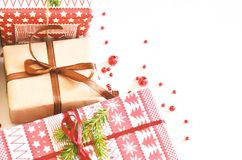 Christmas background with gift boxes for the holiday. stock image