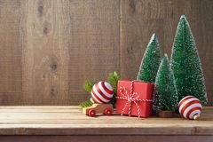 Christmas background with gift boxes and ornament on wooden tabl royalty free stock photography