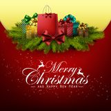 Christmas background with gift boxes and pine tree Stock Photography