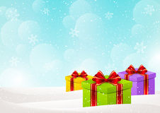 Christmas background with gift boxes. On snow stock illustration