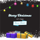 Christmas background with gift boxes and text Stock Image